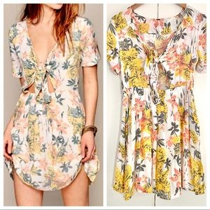 Free People Tie Front Cut-Out Tropical Print Dress